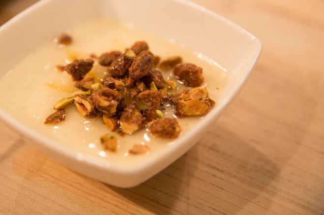 Lemon Panna Cotta with Lemon Marmellata and Candied Pistachios